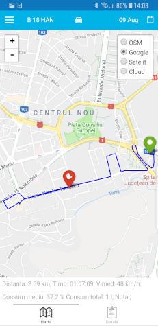 harta traseu ruta localizare gratis GPS monitorizare flota si consum combustibil